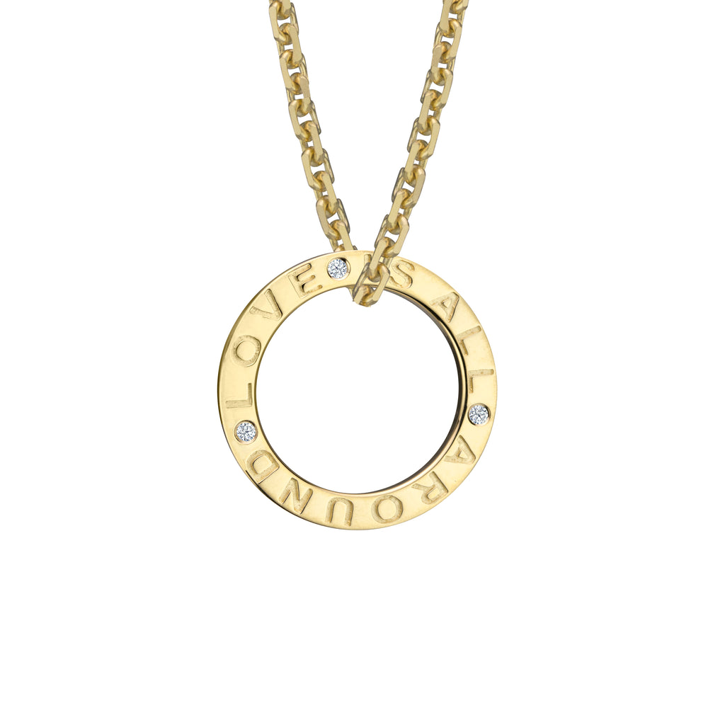 Love Is All Around Charm crafted in 14k gold jewelry set with three diamonds, on chain (chain sold seperately). Net proceeds to CanadaHelps COVID-19 Communities Care Fund.