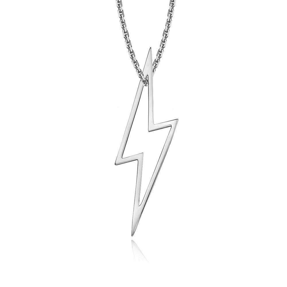 lafia charm collection large lightning necklace on oval channel chain set in white 14k gold
