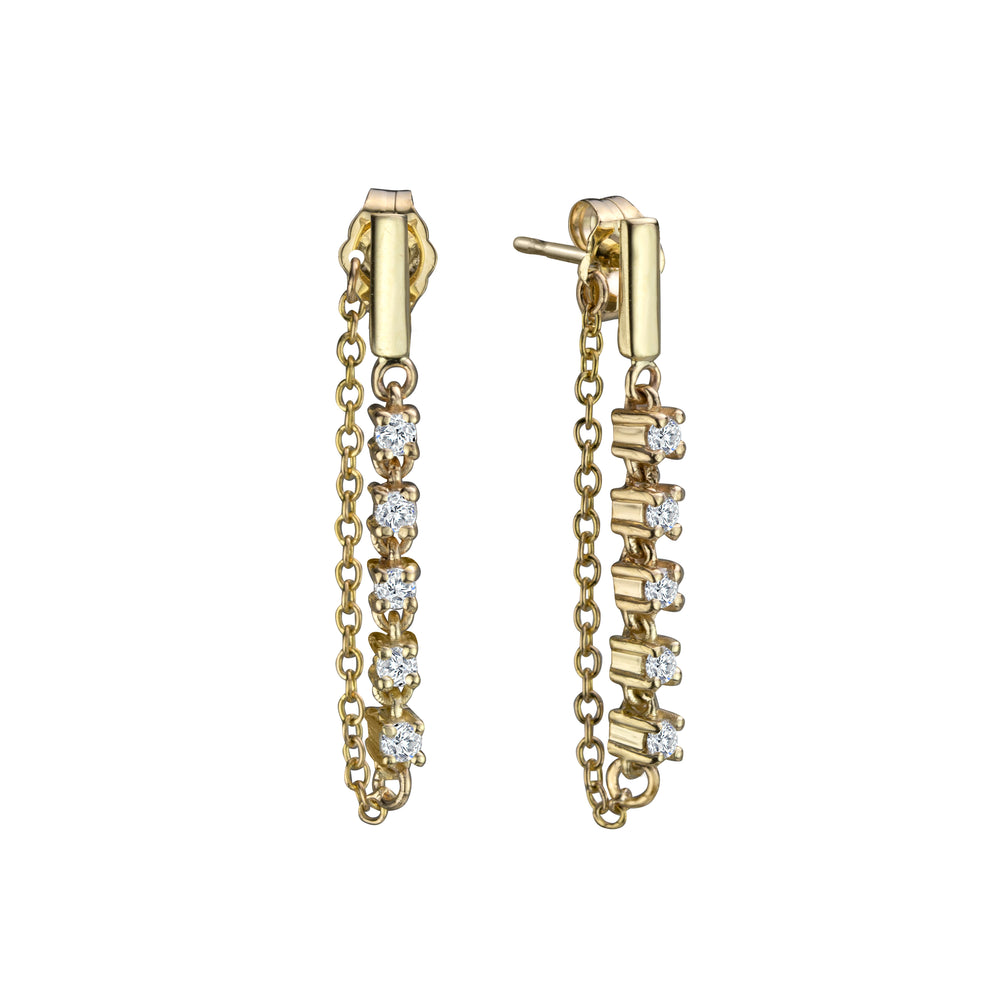 PETITE LINE DIAMOND CHAIN EARRINGS
