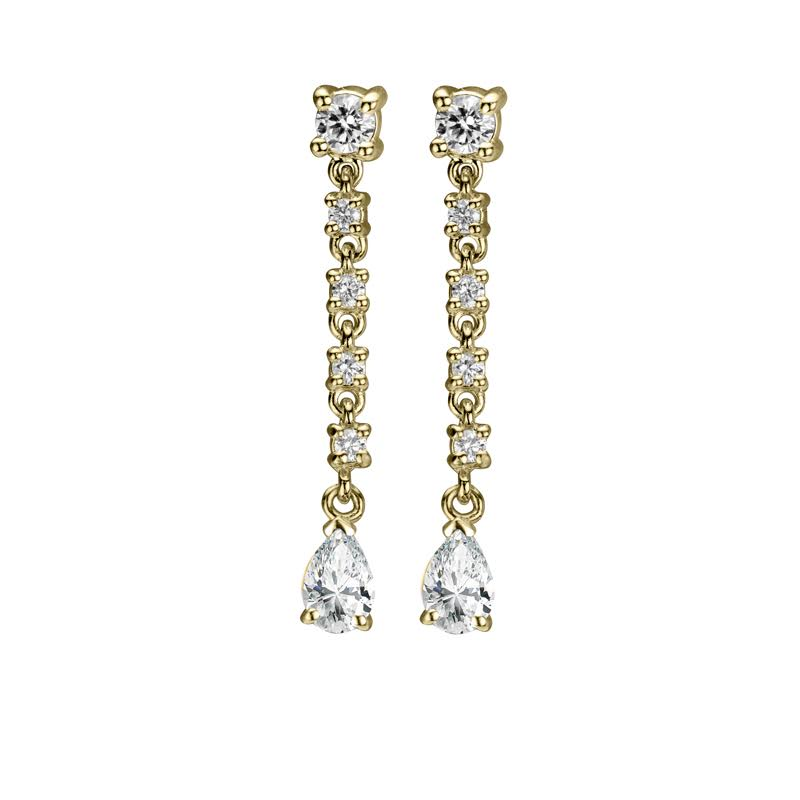 DIAMOND STRAND EARRINGS WITH SAPPHIRE TEAR DROP