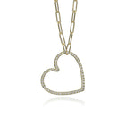 lafia charm collection small diamond heart necklace on small paper clip chain set in yellow 14k gold