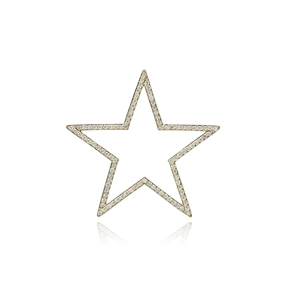 lafia charm collection large diamond star in yellow 14k gold