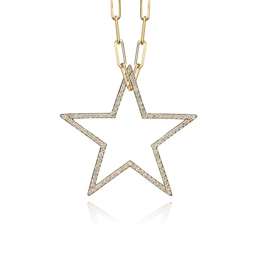 lafia charm collection large diamond star charm necklace on paper clip chain set in yellow 14k gold