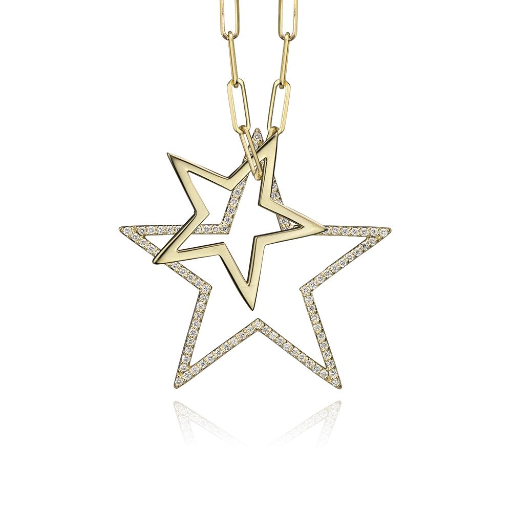 lafia charm collection large diamond star charm and small star charm necklace on paper clip chain set in yellow 14k gold