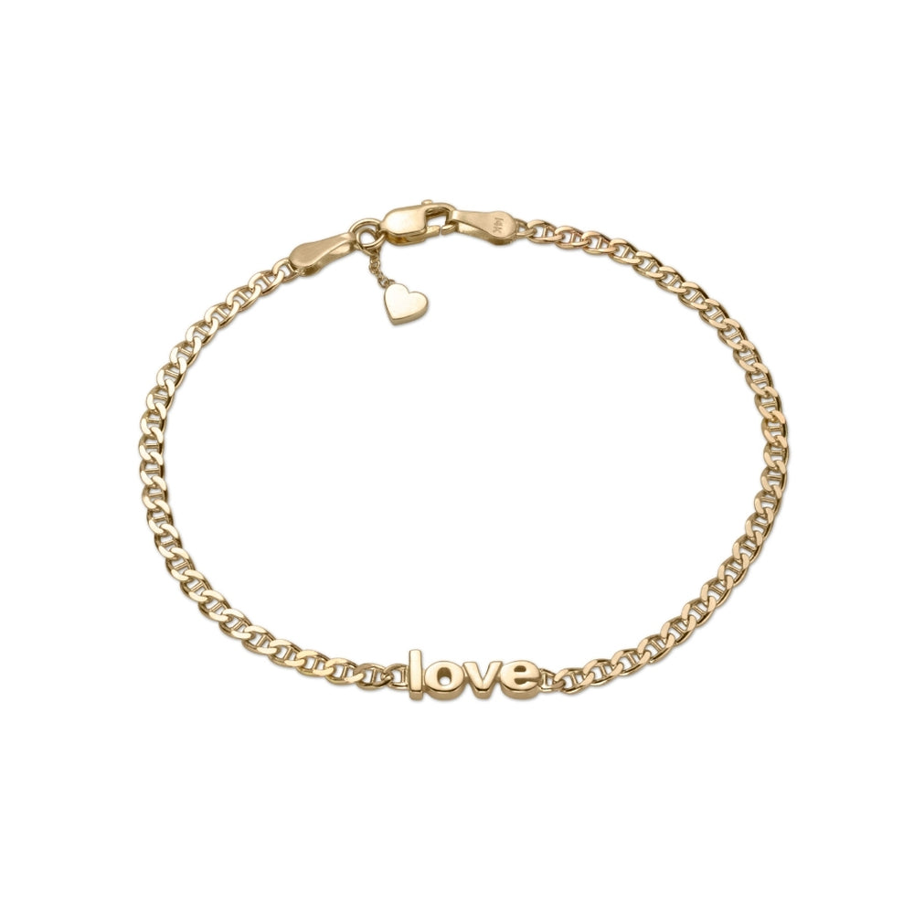 personalized LOVE bracelet in 14k yellow gold lower case letters on flat anchor chain