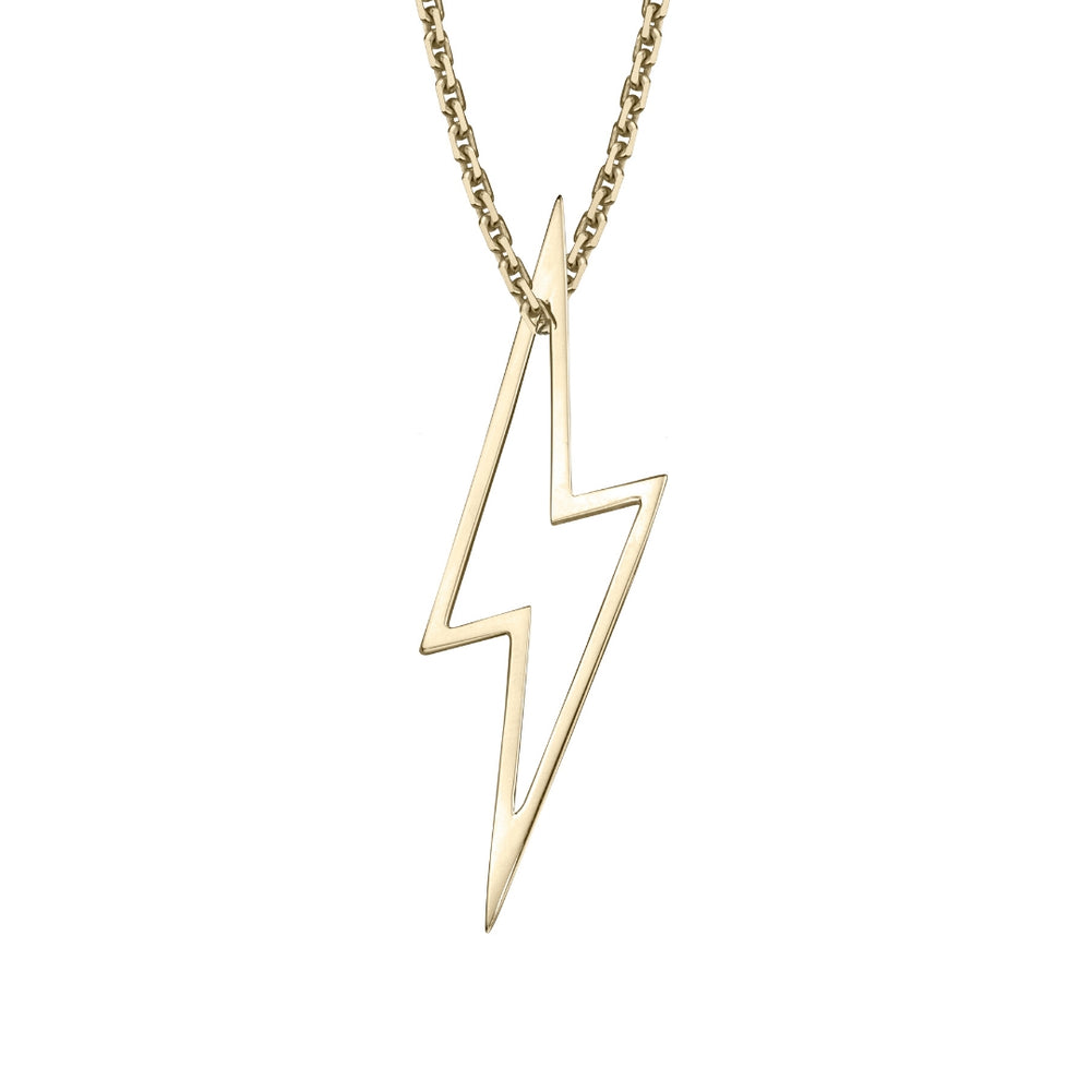 lafia charm collection large lightning necklace on oval channel chain set in 14k yellow gold