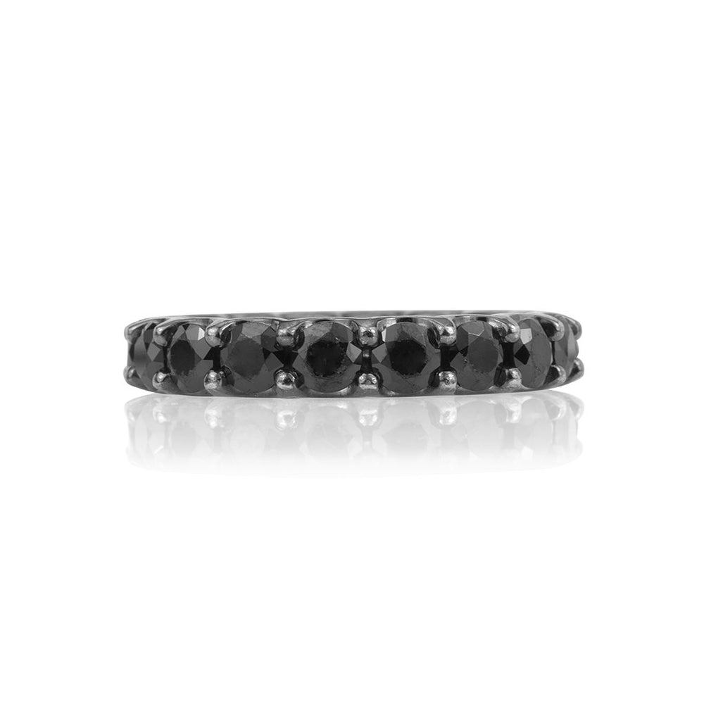 lafia midnight black diamond eternity ring front view