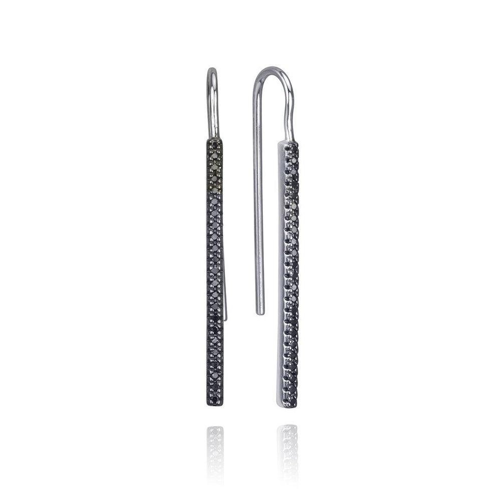 lafia straight and narrow black diamond french hook earrings white gold
