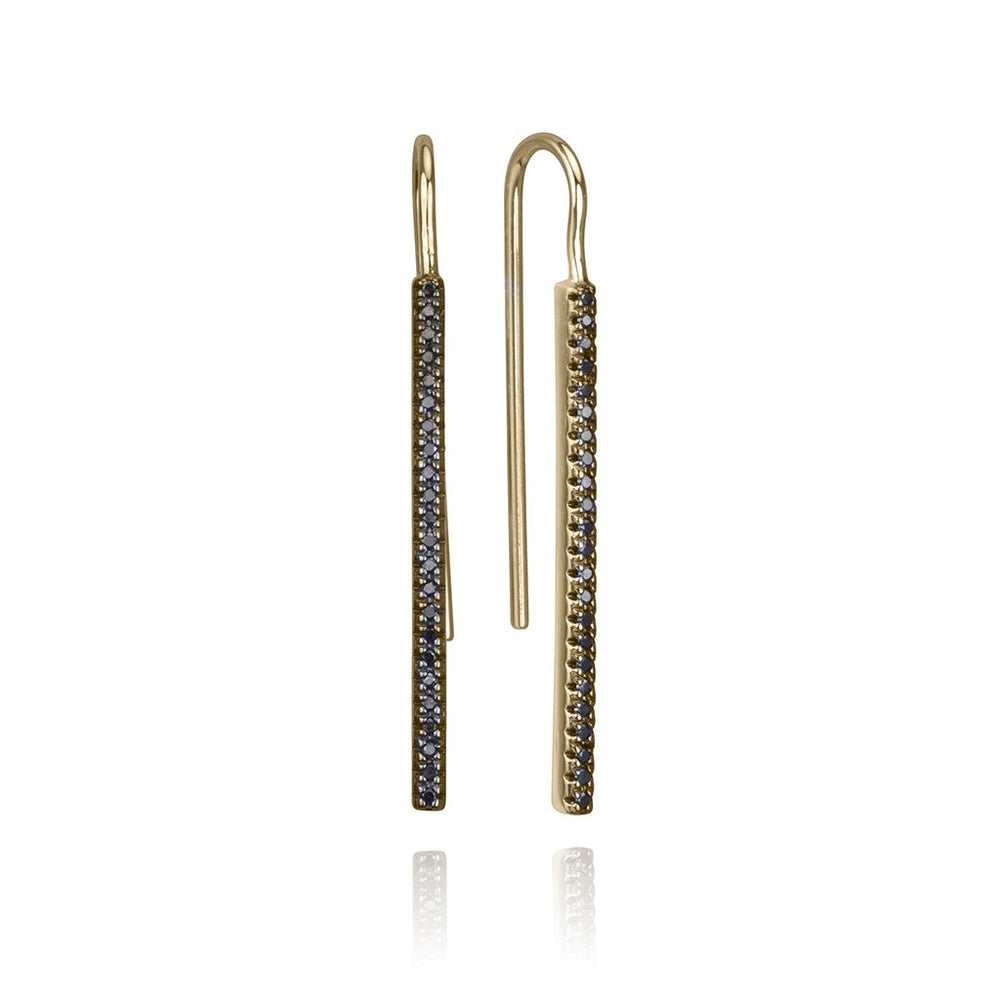 lafia straight and narrow black diamond french hook earrings yellow gold