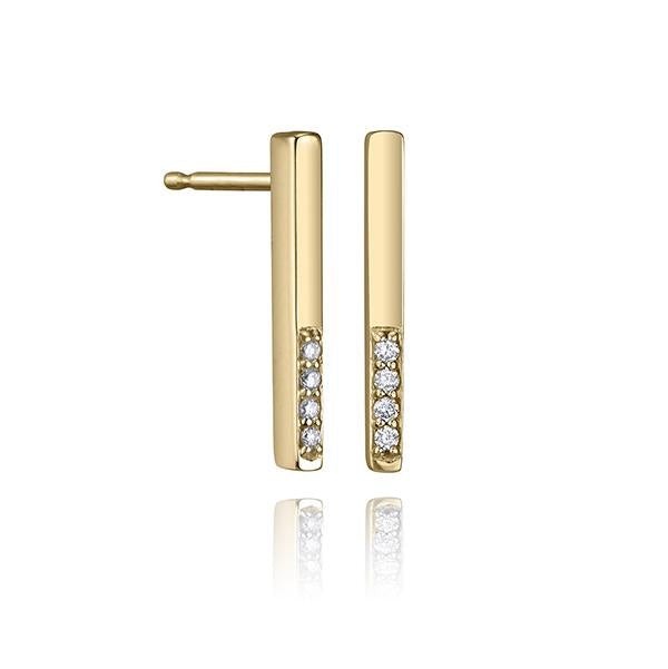 lafia straight and narrow diamond segment line stud yellow gold