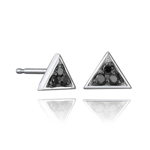 lafia V collection black diamond triangle stud white gold