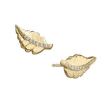 lafia stud collection diamond feather stud yellow gold