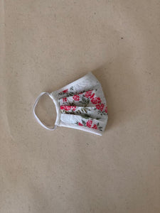 White Red Floral Embroidery Mask (With HEPA Filter)