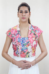 Colourful Floral Motif Crop Top