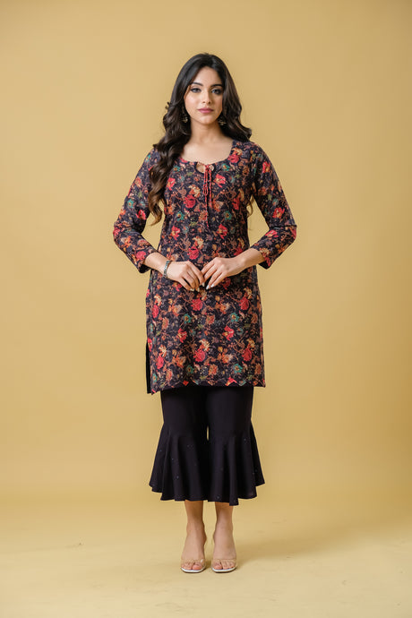 Black kurta with allover print on embroidery paired with stylised pants - Set of 2