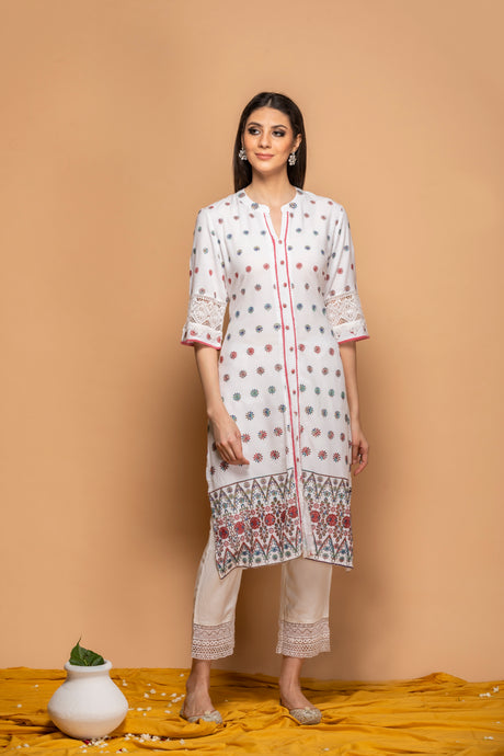 White Kurti with heavy embroidery - Set of 2