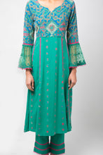 Load image into Gallery viewer, Embroidery Printed Green Anarkali with Pants - Set of 2