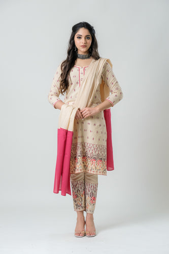 Beige Kurta with Printed Embroidery Paired with Pants and Sequence Dupatta - Set of 3
