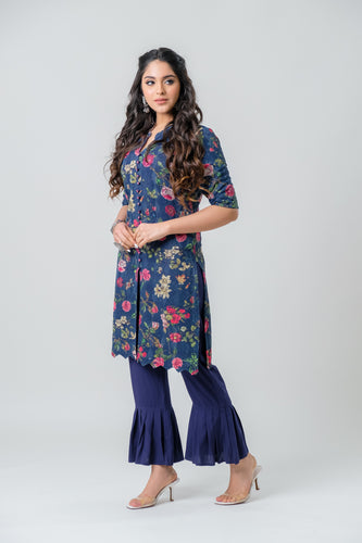 Navy Blue Allover Embroidery Printed Kurti - Set of 2