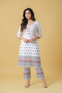 Straight White Kurta with Pants and Bold Bed Dupatta - Set of 3