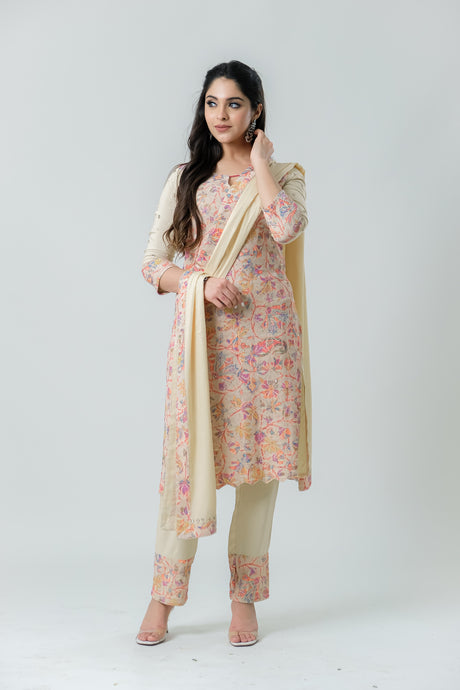 Beige Kurta with Kani Print on Embroidery Paired with Pants and Dupatta - Set of 3