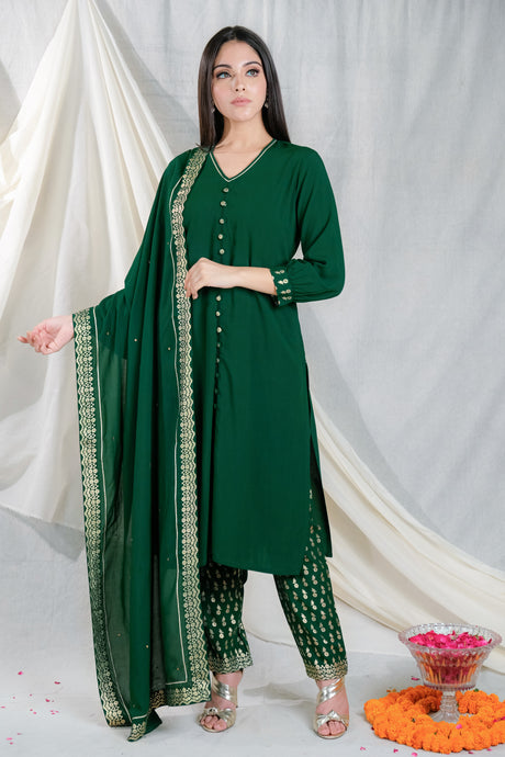 Shama Embroidery Green - Set of 3