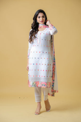 White Kurti with Straight Pants - Set of 3