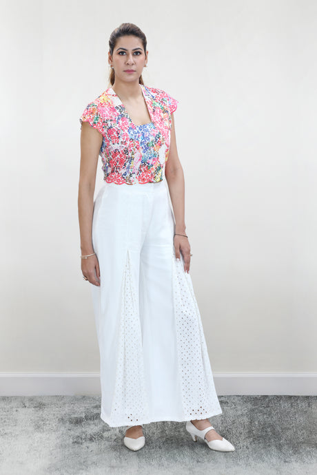Colourful Floral Crop Top Paired with White Palazzo - Set of 2