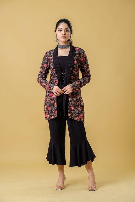 Black Jacket with Floral Print on Embroidery Paired with Stylised Pants - Set of 2
