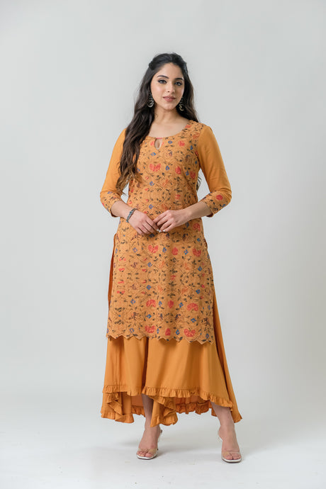 Mustard Coloured Embroidery Printed Kurti - Set of 2