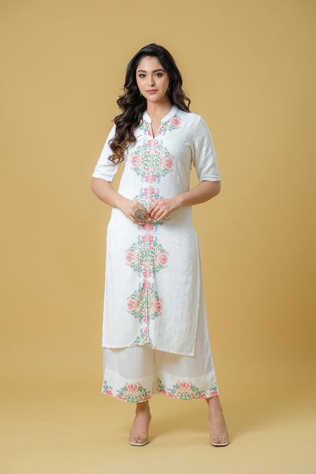 Straight Kurta Paired with a Palazzo - Set of 2