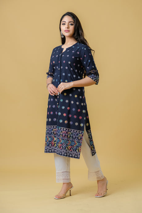 Carbon Blue Slit Kurti Paired with White Pants - Set of 2