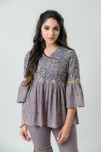 Load image into Gallery viewer, Grey Peplum Kurta with Gharara Pants - Set of 2