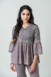 Grey Peplum Kurta with Gharara Pants - Set of 2