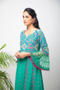 Embroidery Printed Green Anarkali with Pants - Set of 2