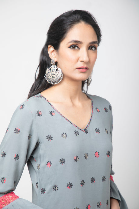 Ash Grey embroidered kurta with plazzo and sequence dupatta - Set of 3