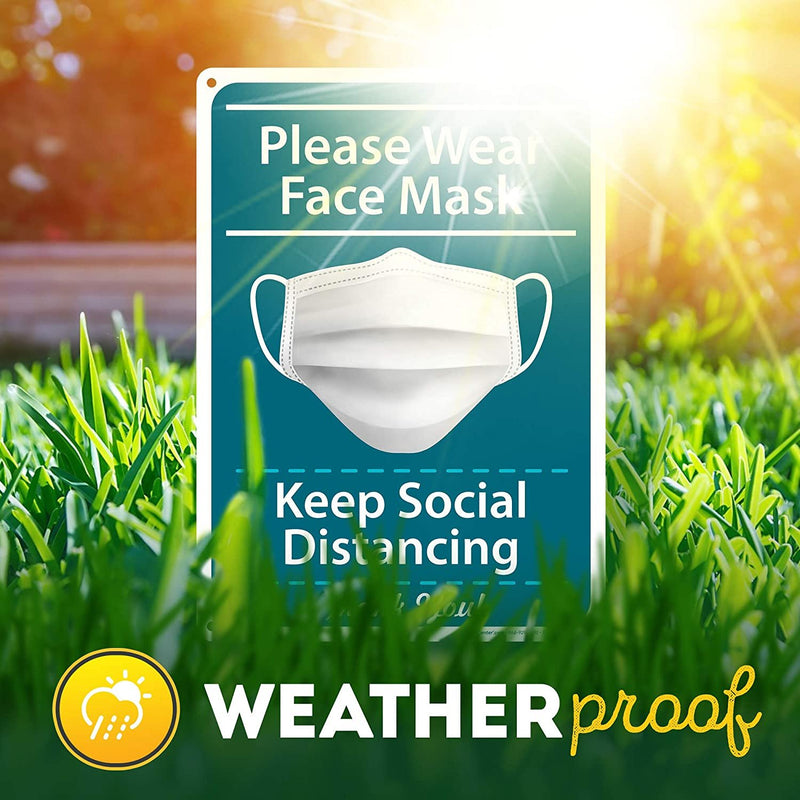 "Please Wear Face Mask Sign Keep Social Distancing Sign, 10"" x 14"" Industrial Grade Aluminum, Easy Mounting, Rust-Free/Fade Resistance, Indoor/Outdoor, USA Made by MY SIGN CENTER"