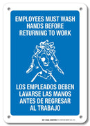 "Employees Must Wash Hands Before Returning to Work - 7""x10"" - .040 Rust Free Heavy Duty Aluminum - Made in USA - UV Protected and Weatherproof - A81-215AL"