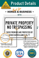"Private Property No Trespassing Video Surveillance 24/7 Sign by My Sign Center - Rust Free, UV Coated and Weatherproof .040 Aluminum - Rounded Corners and Pre-Drilled Holes - 7"" x 10"" - A81-148AL"