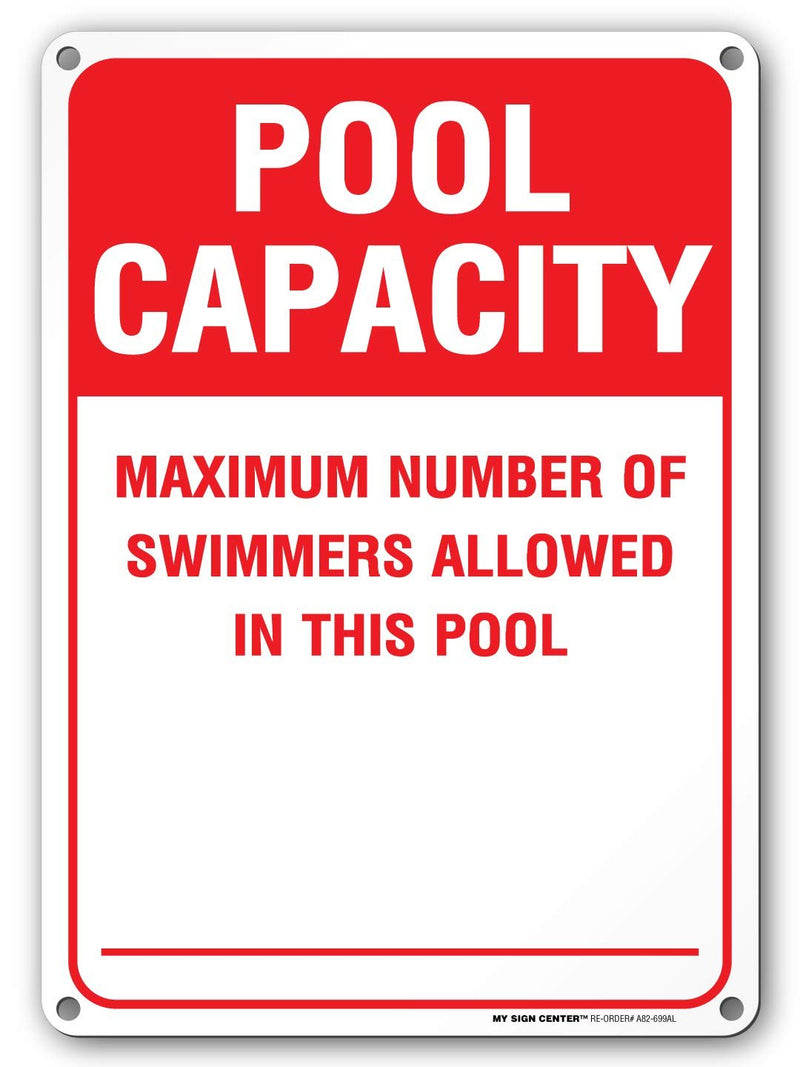 "Swimming Pool Capacity Sign - 10"" x 14"" - Weatherproof with UV Protected Color Fast Ink - Pool Rules Sign Made from .040"" Rust Free Aluminum - Made in The USA - A82-699AL"