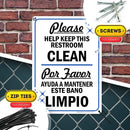 "Please Help Keep Restroom Clean Sign Bilingual English/Spanish Bathroom Sign, 10"" x 14"" Industrial Grade Aluminum, Easy Mounting, Rust-Free/Fade Resistance, Indoor/Outdoor, USA Made by MY SIGN CENTER"