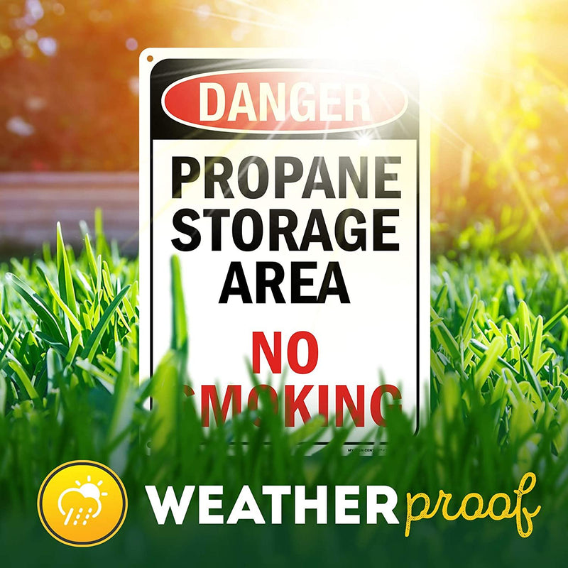 "Danger Sign Propane Storage Area No Smoking, Made Out of .040 Rust-Free Aluminum, Indoor/Outdoor Use, UV Protected and Fade-Resistant, 10"" x 14"", by My Sign Center"