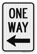 "One Way with Arrow Left Sign - Traffic Signs - 12""x18"" - .063 3M Engineer Grade Prismatic Reflective Aluminum - Made in USA - UV Protected and Weatherproof - A87-241RA"