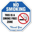 "Metal No Smoking Sign, This is A Smoke Free Zone, Octagon Shaped, Outdoor, Rust-Free, 11"" x 11"" - by My Sign Center, 21106F7-A4"