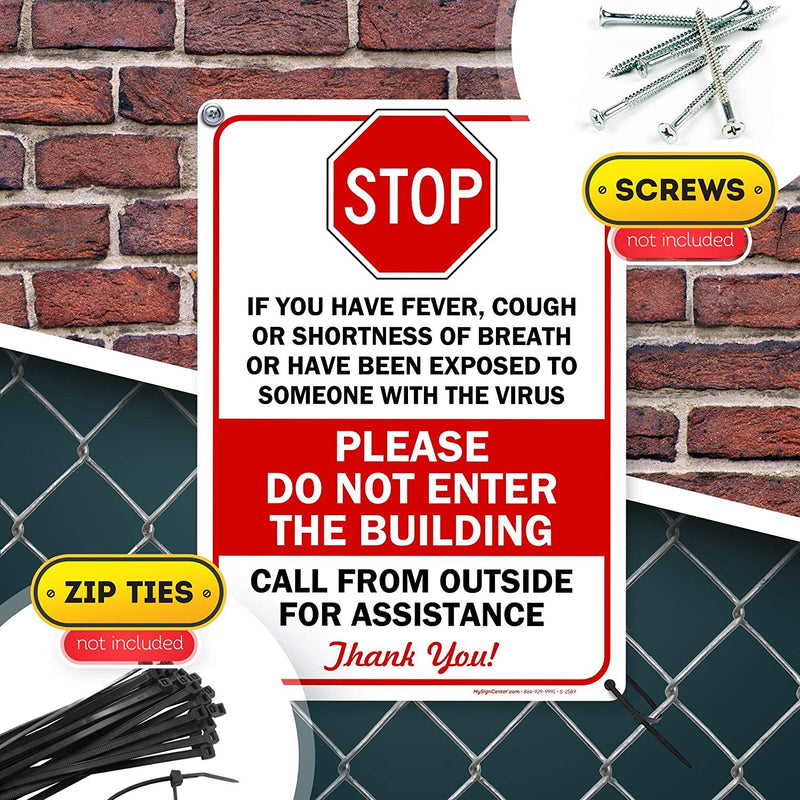 "Stop COVID 19 Symptoms Cough Fever Shortness of Breath Do Not Enter Sign, 10"" x 14"" Industrial Grade Aluminum, Easy Mounting, Rust-Free/Fade Resistance, Indoor/Outdoor, USA Made by MY SIGN CENTER"