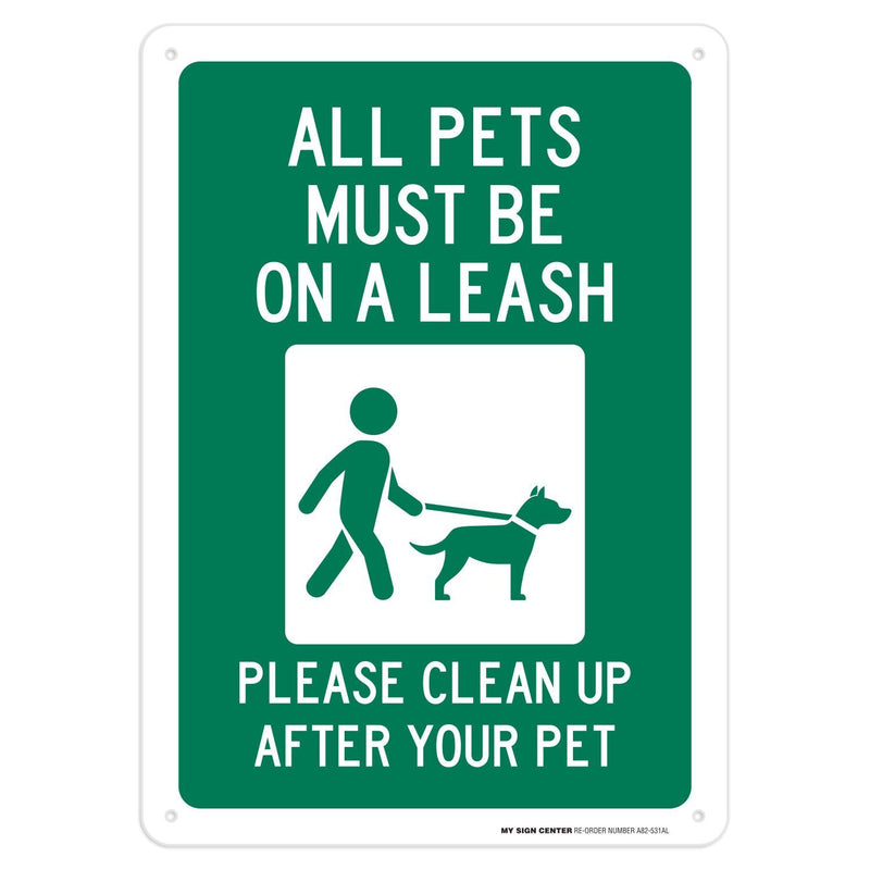 "Please Clean Up After Your Pet Sign - 10""x14"" - .040 Rust Free Aluminum - Made in USA - UV Protected and Weatherproof - A82-531AL"