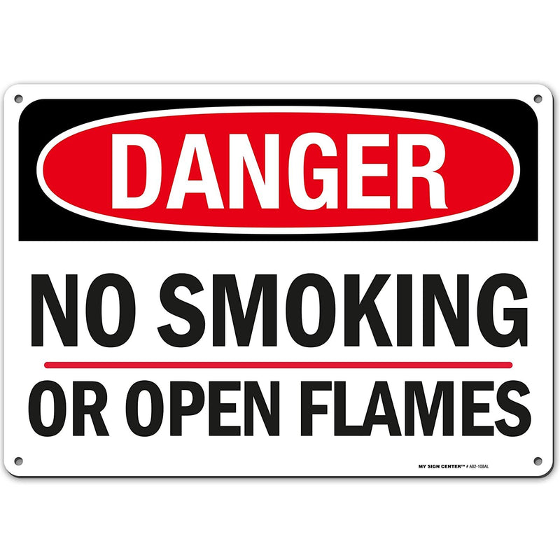 "Danger No Smoking Or Open Flames Sign - 10""x14"" - .040 Rust Free Aluminum - Made in USA - UV Protected and Weatherproof - A82-108AL"