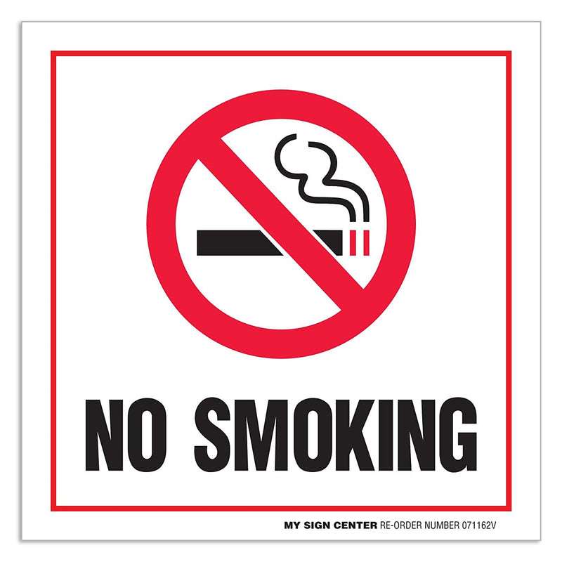 "(4 Pack) No Smoking Self Adhesive Vinyl Decal Sign - 6"" X 6"" - 4 Mil Premium Vinyl - Made in USA - UV Protected and Weatherproof"