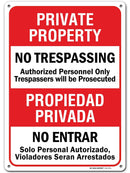 "No Trespassing Signs Private Property, Bilingual English/Spanish Made Out of .040 Rust-Free Aluminum, Indoor/Outdoor Use, UV Protected and Fade-Resistant, 10"" x 14"", by My Sign Center"
