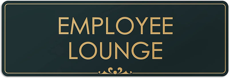 "Employee Lounge - Laser Engraved Sign - 3""x9"" - .050 Black and Gold Plastic"